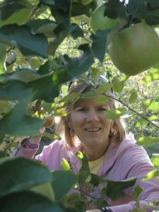 Christy picking apples